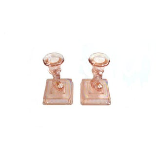 Vintage Pink Koi Fish Carnival Glass Candle Holders - a Pair Preview