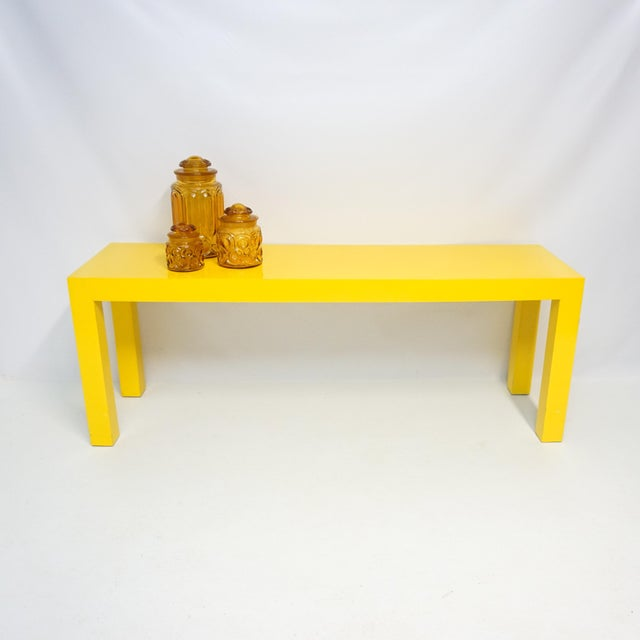 1970's Long Yellow Wooden Parsons Table - Image 5 of 7