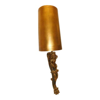 Mid Century Modern Regency Figural Lamp W Gold Original Shade For Sale