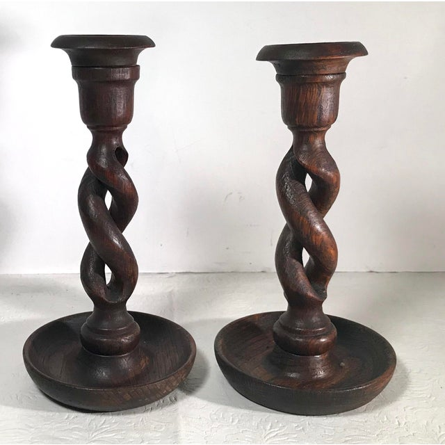 Early 20th Century Vintage Barley Twist Open Weave English Candlesticks - a Pair For Sale - Image 5 of 7