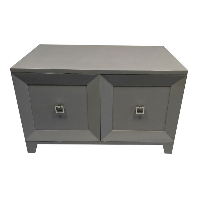 Contemporary End Table With Doors and Matching Side Panels For Sale