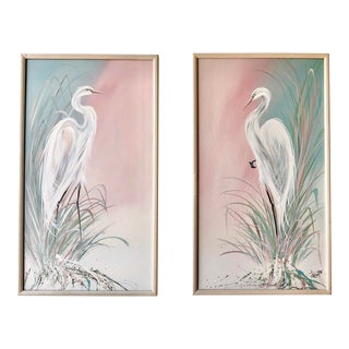 Frank Walcutt Signed Florida Great Egrets Oil on Canvas Paintings () - a Pair For Sale