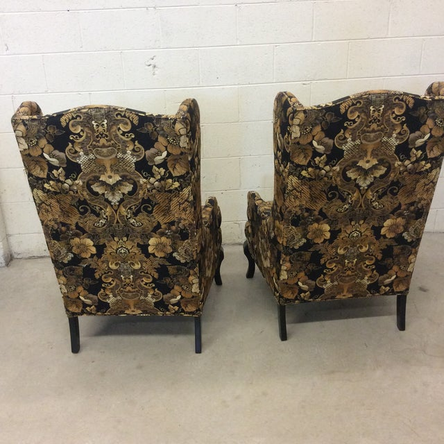 Gold Hollywood Regency Black & Gold High Back Chairs - a Pair For Sale - Image 8 of 11