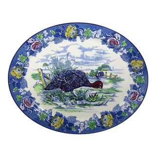 1920 Antique English Pottery Turkey Platter For Sale