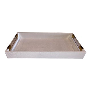 Small New White Leather Rectangular Tray With Acrylic and Brass Handles For Sale