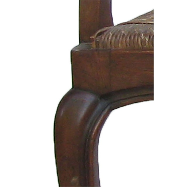 Wood English Arts & Crafts Rush Seat Arm Chair For Sale - Image 7 of 9