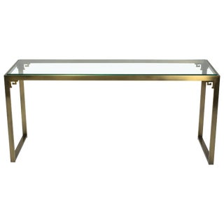 Greek Key Brass Console Table by Design Institute of America For Sale