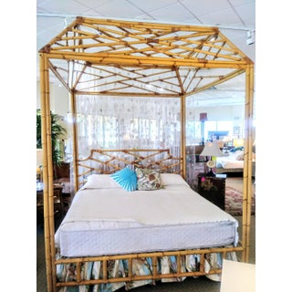 Custom Made Palm Beach Regency Bamboo Chippendale Chinoiserie King Size Massive Canopy Tray Bed Headboard Frame Preview
