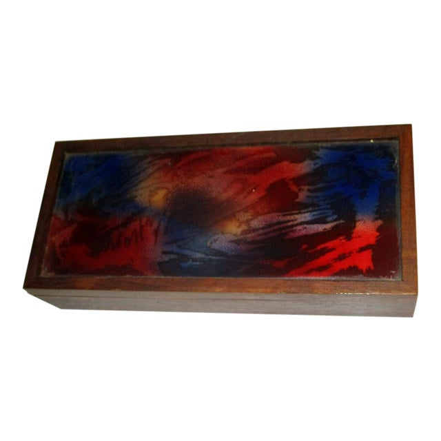1960s Mid-Century Modern Rosewood Box With Abstract Enamel Top For Sale