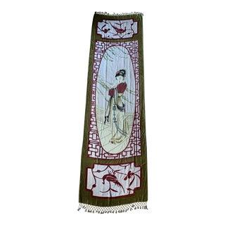 Beautiful Asian Woman Silk Velvet Beaded Tapestry For Sale