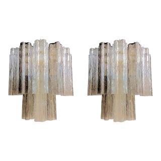 Pair of Venini Tronchi Murano Glass Sconces, Mid Century Modern