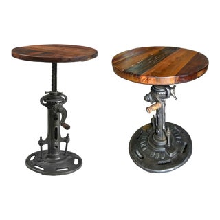 Fae Reclaimed Wood Adjustable Stool - Set of 2 For Sale