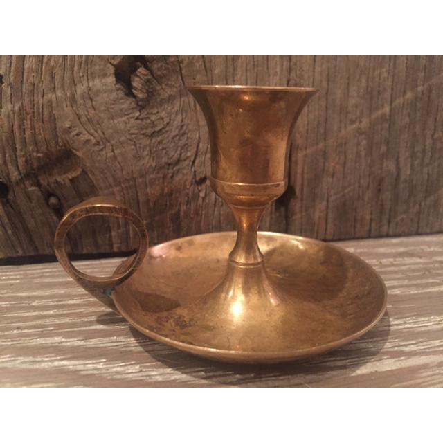 Vintage Brass Vase Bowl & Chamber Stick - Set of 3 - Image 8 of 9