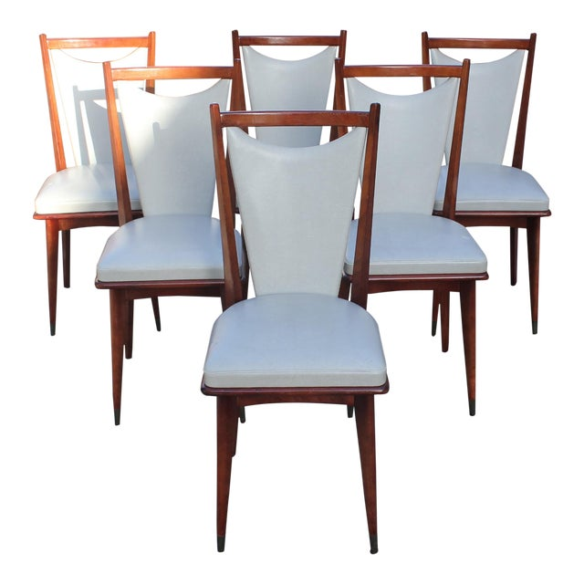 Set of 6 French Art Deco or Art Modern Solid Mahogany Dining Chairs Circa 1950s For Sale