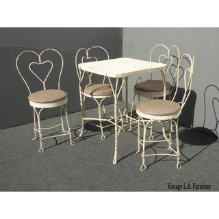 Vintage Farmhouse Industrial White Table & Heart Shaped Chairs Preview