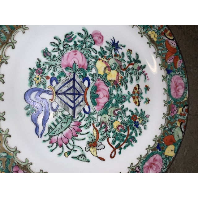 "Famille Rose Lotus Kite 10"" Plate For Sale - Image 4 of 6"