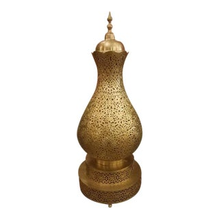 Koppa Intricate Moroccan Copper Table Lamp For Sale