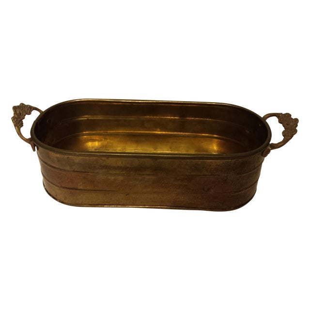 Oblong Solid Brass Planter With Flower Handles - Image 1 of 9