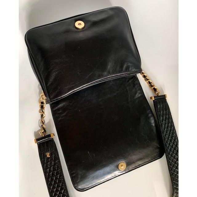 Vintage Bally Handbag Quilted Black Lamb Skin Leather For Sale - Image 11 of 13