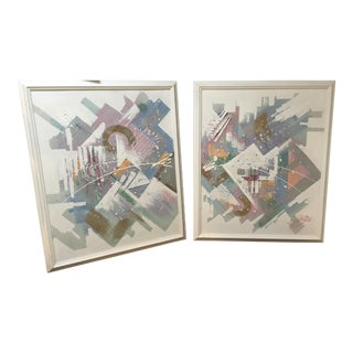 Mid-Century Abstract Paintings - A Pair For Sale