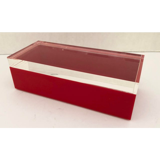 Wonderful Alessandro Albrizzi Mid-Century Red & Clear Lucite Box lidded box. Signed at the bottom. Excellent vintage...