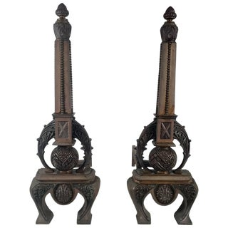 Stunning 1890s f.g. Janusch N Y Bronze Fireplace Andirons - A Pair For Sale