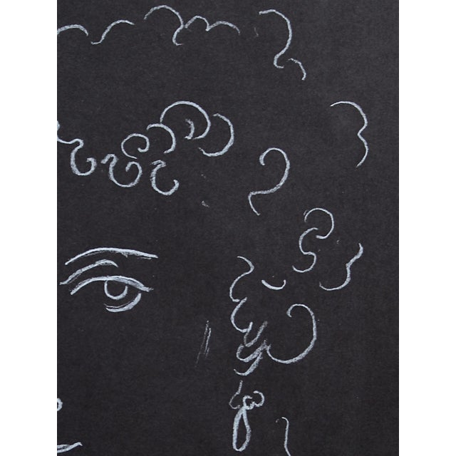 "Contemporary ""Woman With Ringlets"" Minimalist Inspired White Charcoal Drawing by Sarah Myers For Sale - Image 3 of 6"