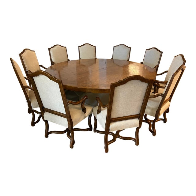 Michael Taylor Table + Set of 10 Custom Design Chairs Dining Set For Sale