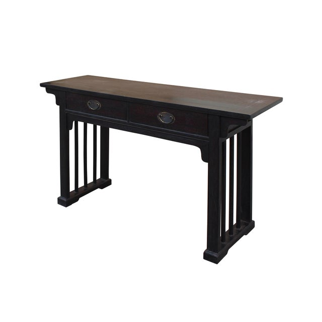 Chinese Dark Brown Black Huali Rosewood Plain Ming Style Altar Table For Sale - Image 5 of 10