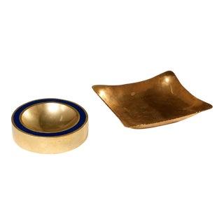 1960s Modernist Brass Vide Poche - a Pair