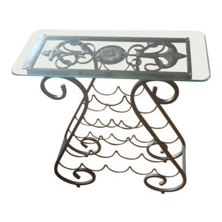 Glass Top Table Metal Wine Rack For Sale