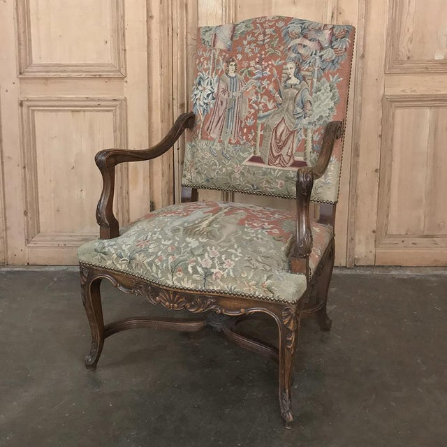 19th Century French Louis XV Armchair With Tapestry For Sale - Image 4 of 13