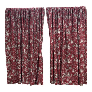 1980s Chinoiserie Toile Design Custom Window Treatments - Set of 4 For Sale