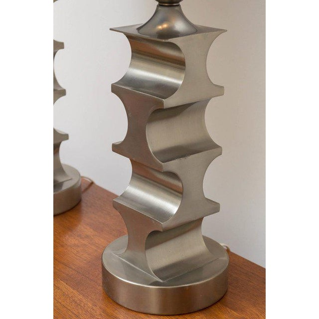 Italian Italian Architectural Pewter Lamps - A Pair For Sale - Image 3 of 9