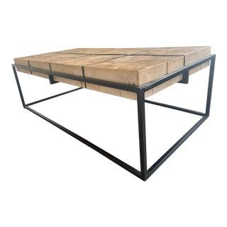 Boho Chic Iron and Wood Large Coffee Table For Sale