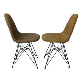 Early Eames Herman Miller Dkr Chairs on Eiffel Tower Bases With Covers - a Pair For Sale