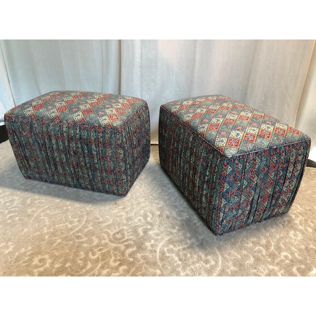 Textile Custom Upholstered Poof Ottomans - Pair For Sale - Image 7 of 7
