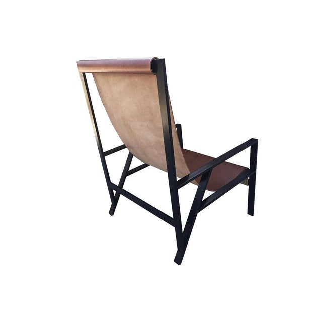 """Contemporary Foreman Brothers """"Hampton"""" Leather Sling Lounge Chair For Sale - Image 3 of 7"""
