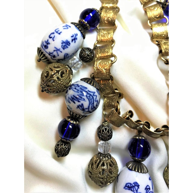 2010s Chinese Blue and White Porcelain Bead and Brass Bookchain Necklace For Sale - Image 5 of 9