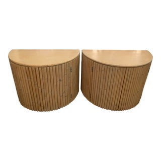 Vintage Bamboo Curved Demi Lune Nightstands Chests Side End Tables -Pair For Sale