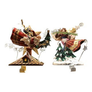 Vintage Stocking Hangers Christmas Hooks Santa and Angel - Set of 2 For Sale
