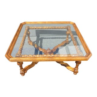 Spanish-Style Scalloped Glass Coffee Table