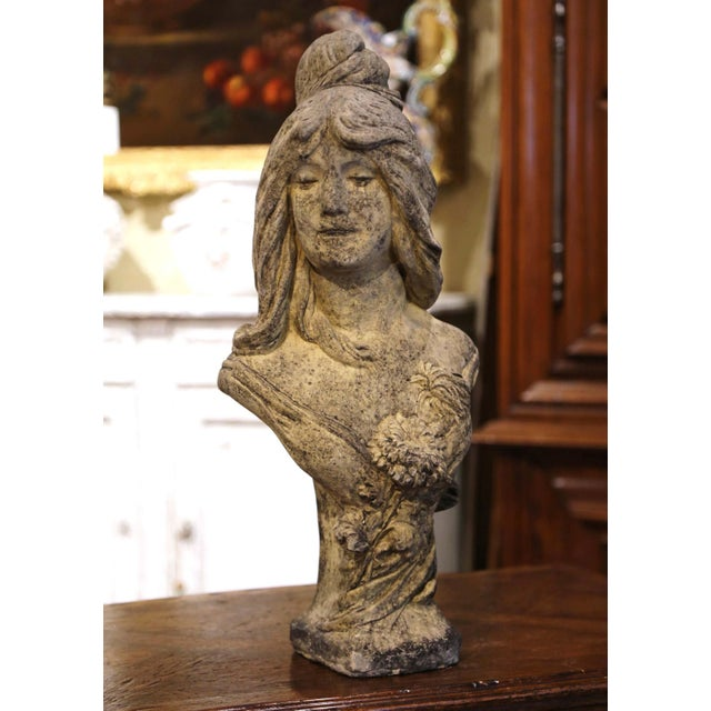 Decorate a garden or patio with this elegant antique outdoor statue. Carved of stone in France circa 1930, the figure...