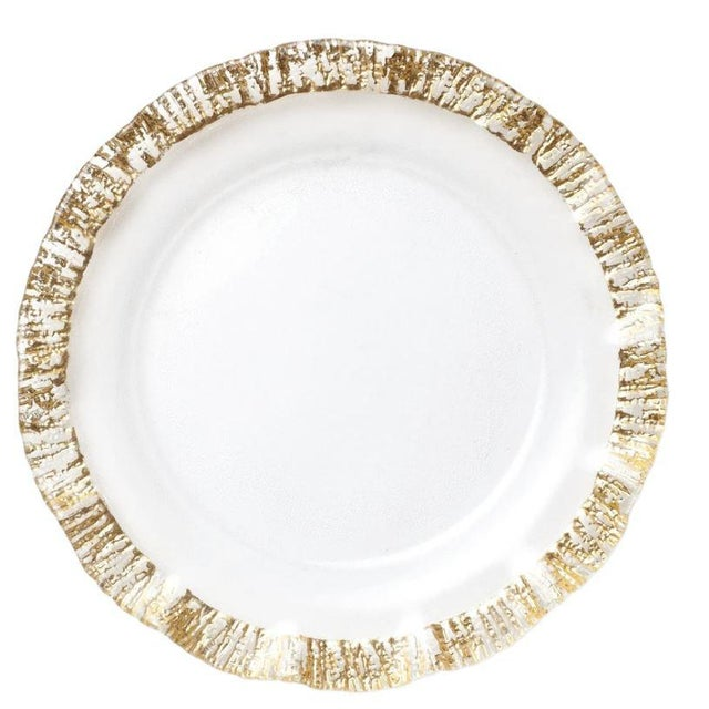 2020s Kenneth Ludwig Chicago Rufolo Gold Rim Charger Plate For Sale - Image 5 of 5