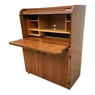Vintage Danish Style Roll Top Secretary For Sale