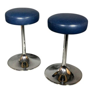 Pair of Johanson Design Chrome and Leather Stools, Sweden, 1970s For Sale