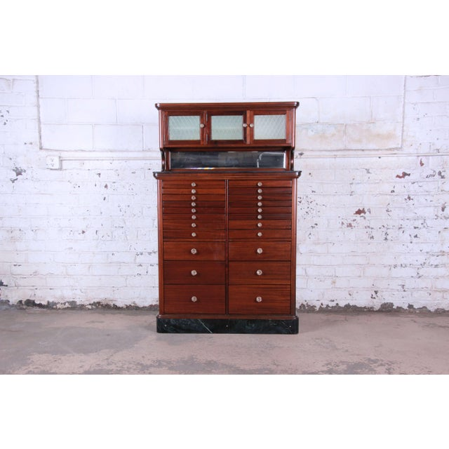 1920s Exceptional Antique 22 Drawer Mahogany Dental Cabinet For Sale - Image 13 of 13