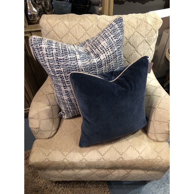 Kenneth Ludwig Chicago Contemporary Home Navy Blue Textured Square Pillow For Sale - Image 4 of 7