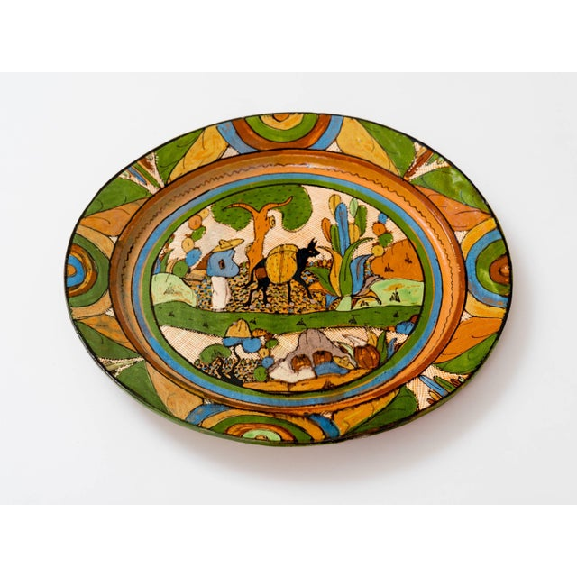 Folk Art Tlaquepaque 1930s Mexican Hand-Painted Ceramic Charger Tray For Sale - Image 3 of 11