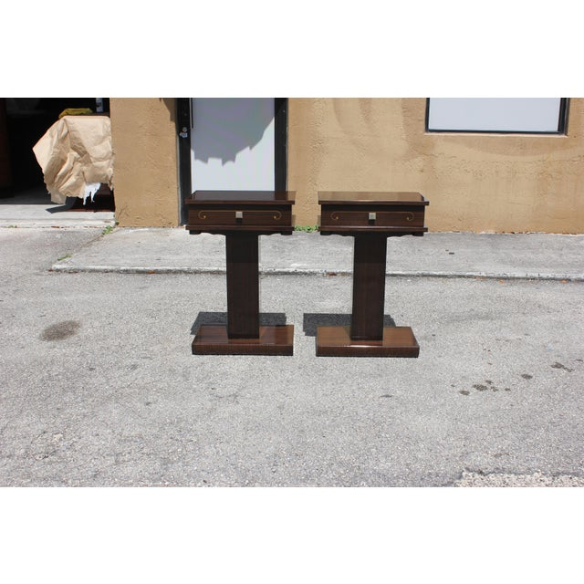 French Art Deco Macassar Ebony Nightstands - A Pair - Image 7 of 10